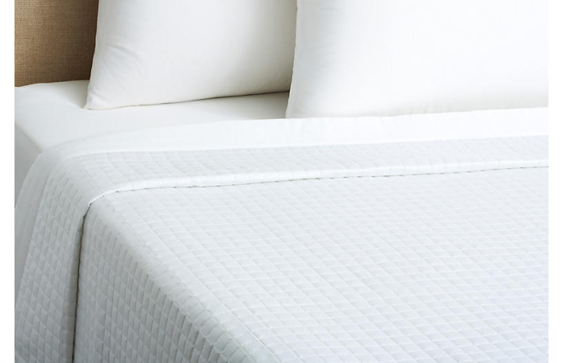 Cotton Quilted Coverlet , White