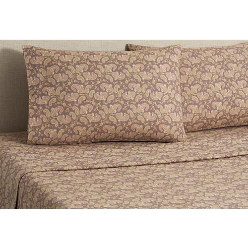 Flannel Paisley Sheet Set, Brown