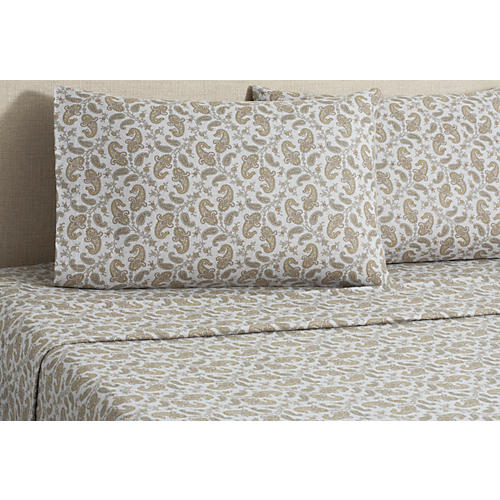 Flannel Paisley Sheet Set, Gray