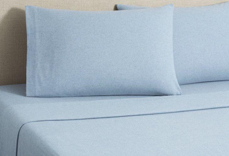 Flannel Heather Sheet Set, Blue