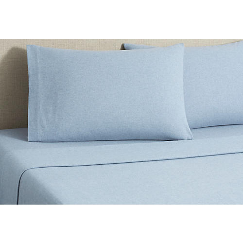 Flannel Heather Sheet Set, Blue
