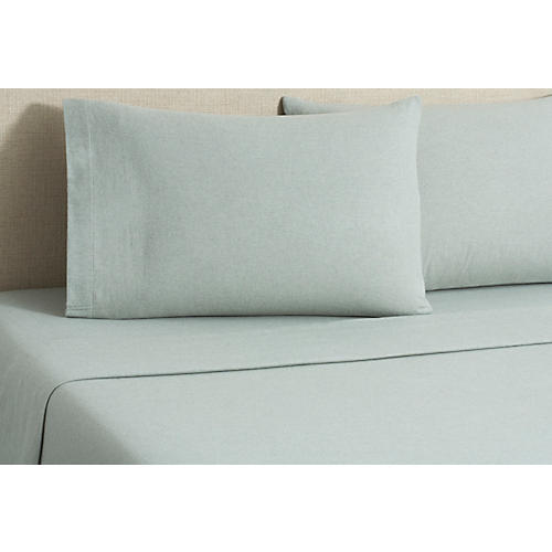 Flannel Heather Sheet Set, Green