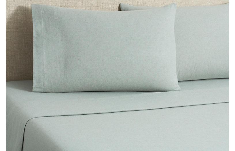 Flannel Heather Sheet Set, Green