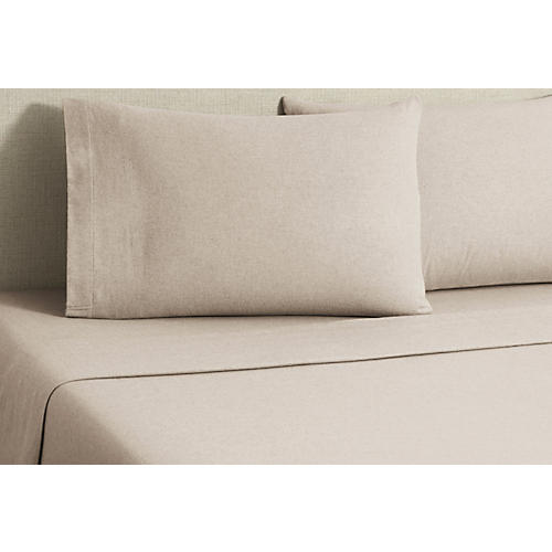 Flannel Heather Sheet Set, Tan