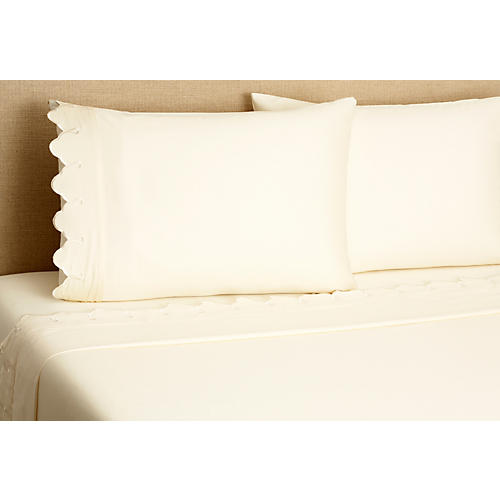 Scallop Sheet Set, Ivory
