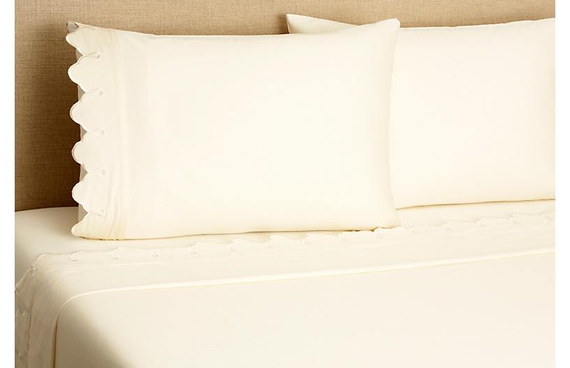 Scallop Sheet Set, Ivory