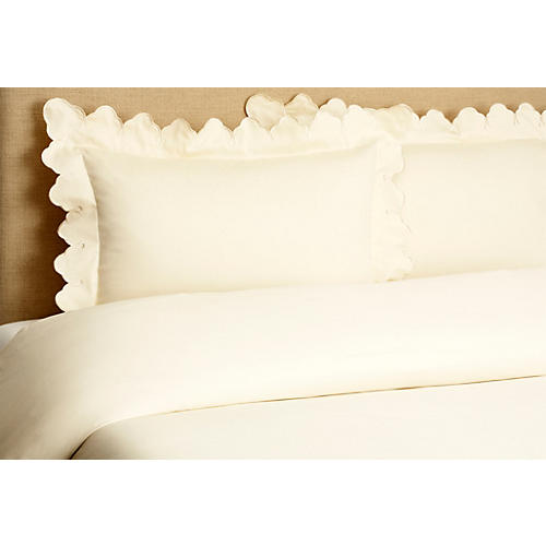 Scallop Duvet Set, Ivory