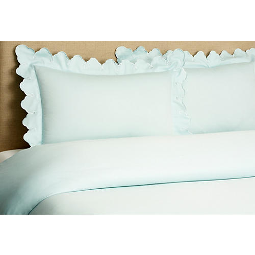 Scallop Duvet Set, Blue