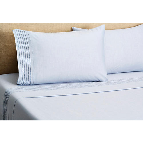 Pintuck Sheet Set, Blue