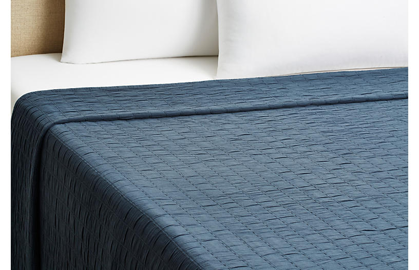 Relaxed Rows Coverlet, Navy