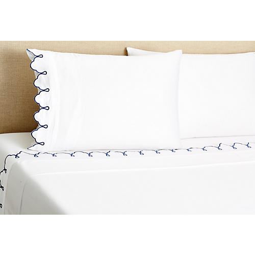 Embroidered Scalloped Sheet Set, Navy