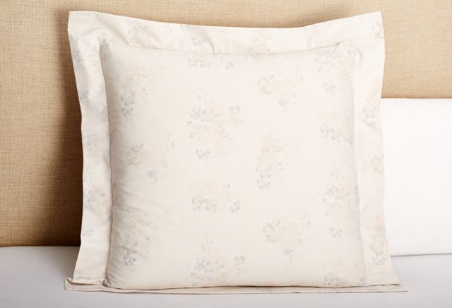 Floral Percale Euro Sham, Pink