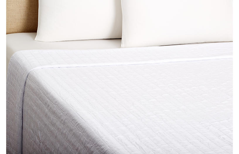 Relaxed Rows Coverlet, White