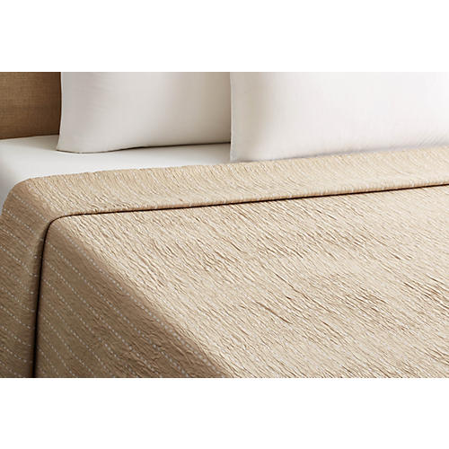 Skip-Stitch Coverlet, Taupe