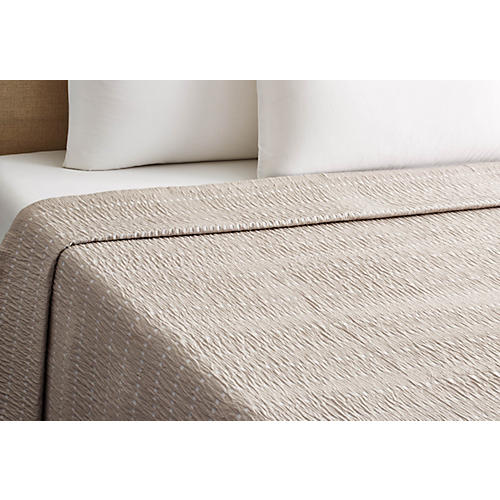 Relaxed Squares Coverlet, Gray