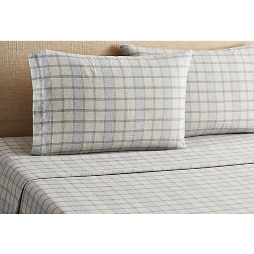 Plaid Flannel Sheet Set, Blue
