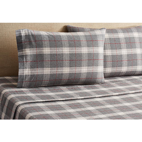 Plaid Flannel Sheet Set, Red