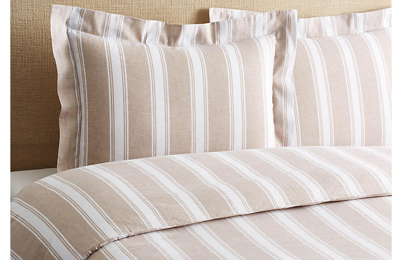 Stripe Duvet Set, Linen