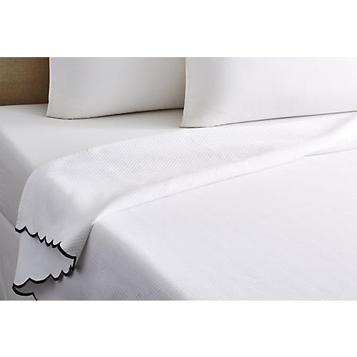 Isabel Scalloped Coverlet, Navy