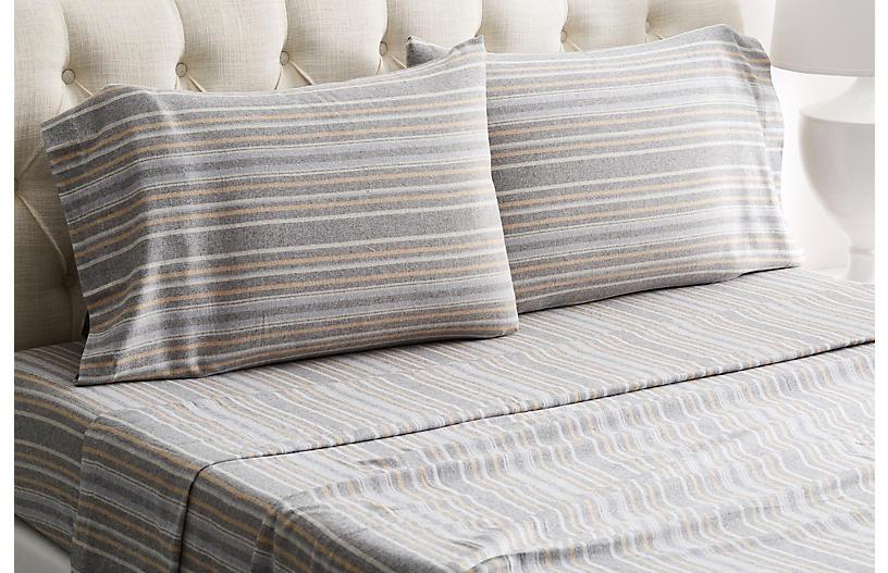 Herringbone Flannel Sheet Set, Gray