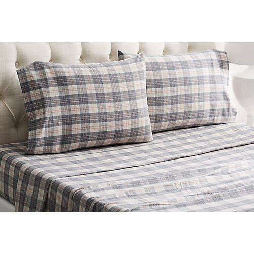 Plaid Flannel Sheet Set, Gray/Rose
