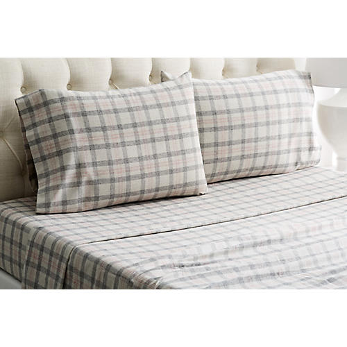 Checkered Flannel Sheet Set, Gray/Red