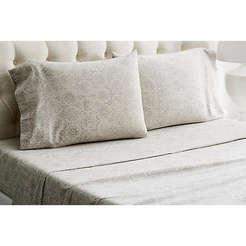 Heather Flannel Sheet Set, Gray