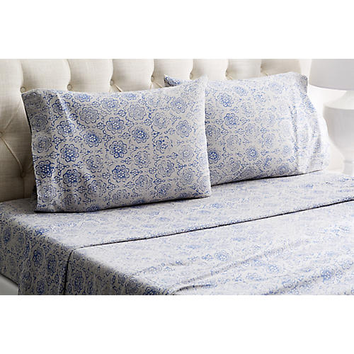 Heather Flannel Sheet Set, Blue/Gray