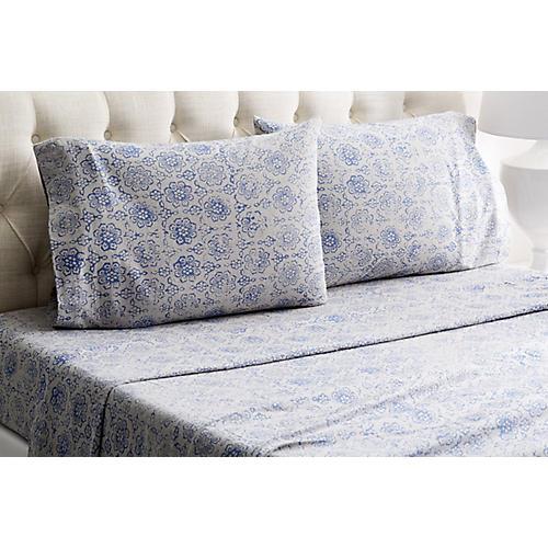 Heather Flannel Sheet Set, Blue/Gray