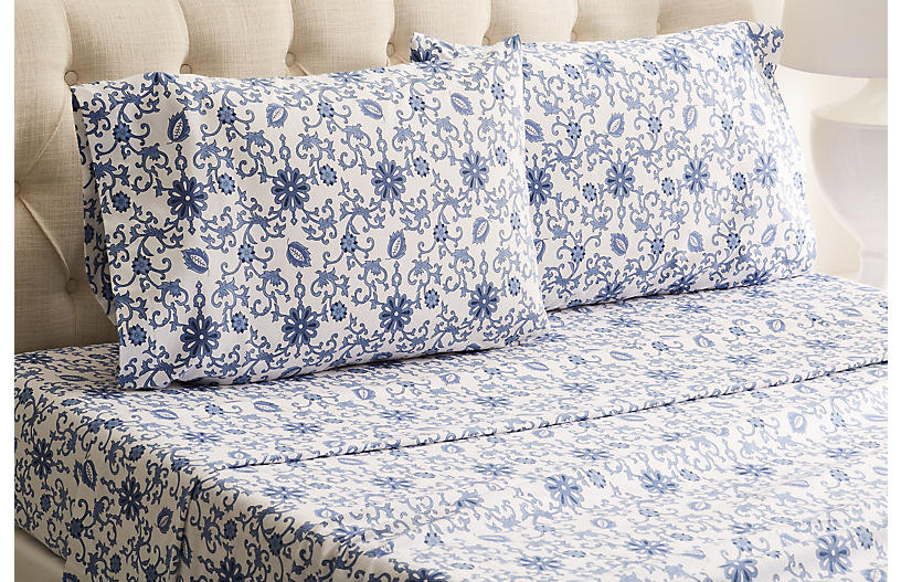 Paisley Flannel Sheet Set, Blue