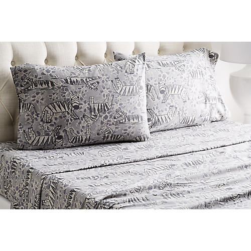 Heather Zebra Flannel Sheet Set, Gray