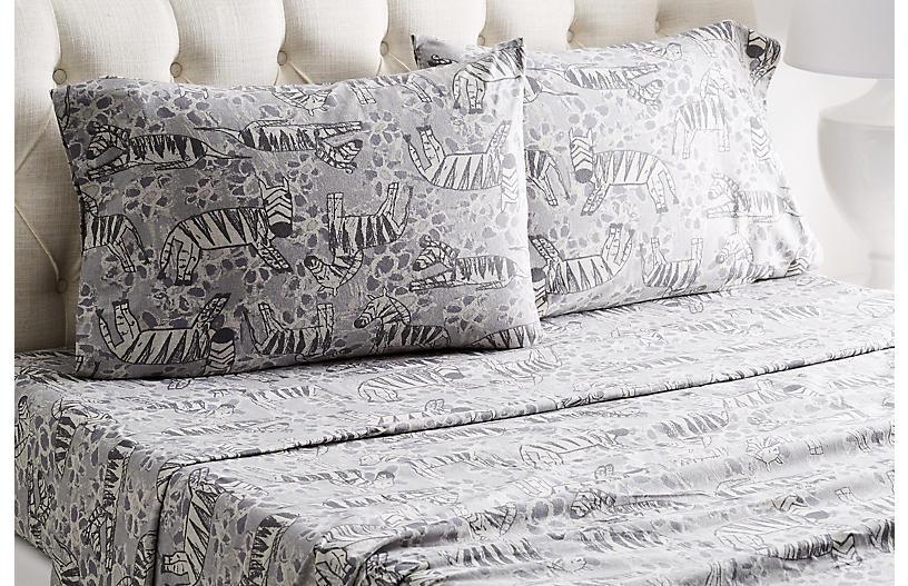 Heather Zebra Flannel Sheet Set, Gray