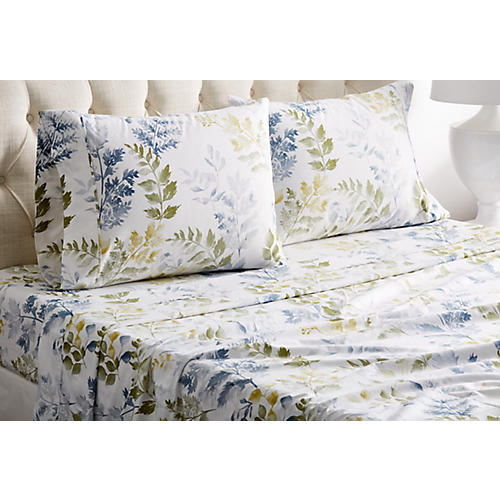 Leaves Sheet Set, Blue
