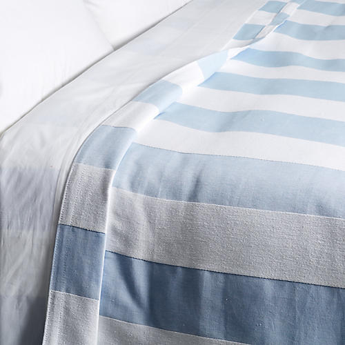 Barrado Coverlet, Blue