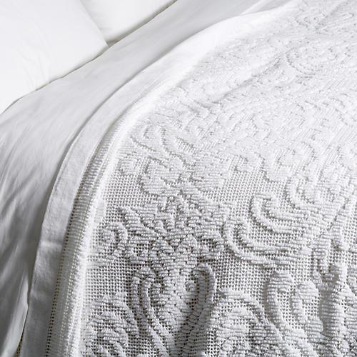Paisley Coverlet, White
