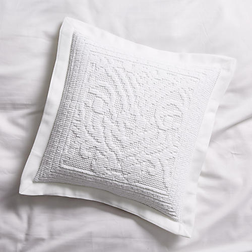 Paisley Throw Sham, White