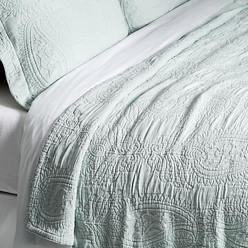 Paisley Coverlet Set, Spa Blue
