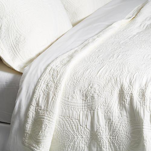 Paisley Coverlet Set, White