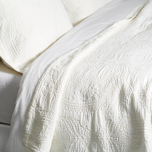 Paisley Coverlet Set, White