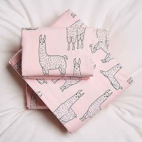 Llama Sheet Set, Pink