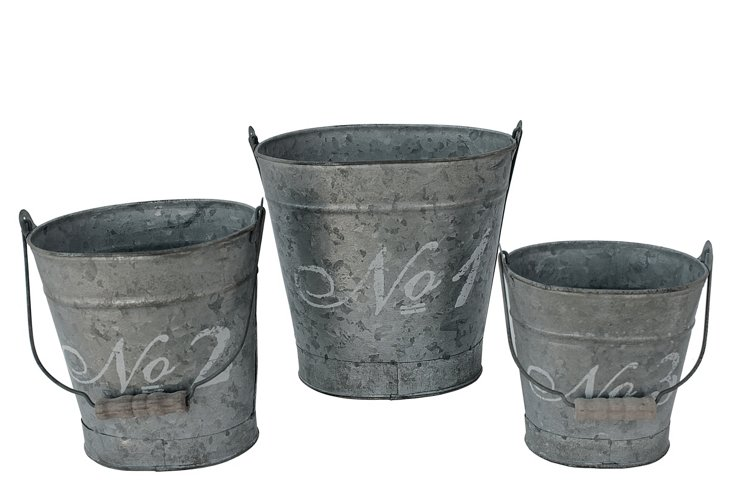 S/3 French Script Oval Buckets