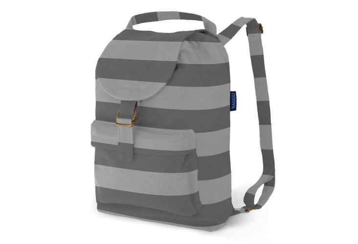 Canvas Backpack, Gray Stripe