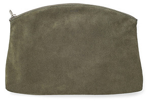 Large Clutch, Olive Suede