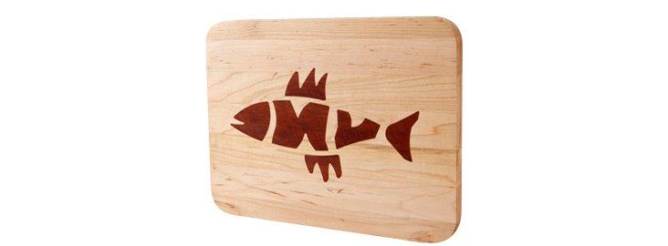 Maple Cutting Board, Fish Bones Inlay