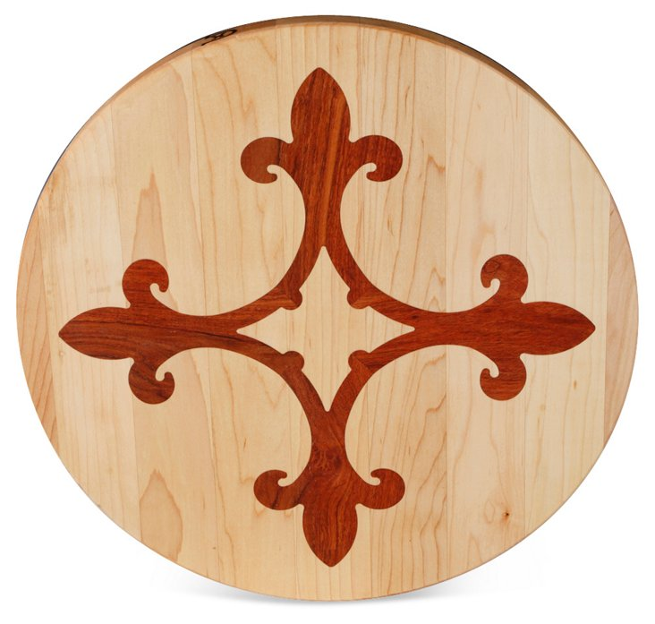 Round Maple Board, Fleur-de-Lis