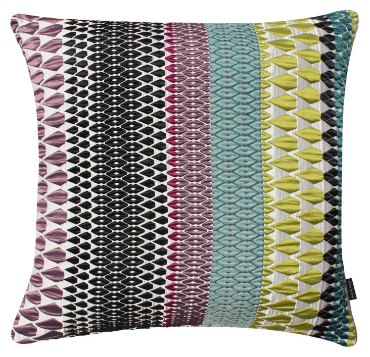Caroline 20x20 Silk-Blend Pillow, Multi