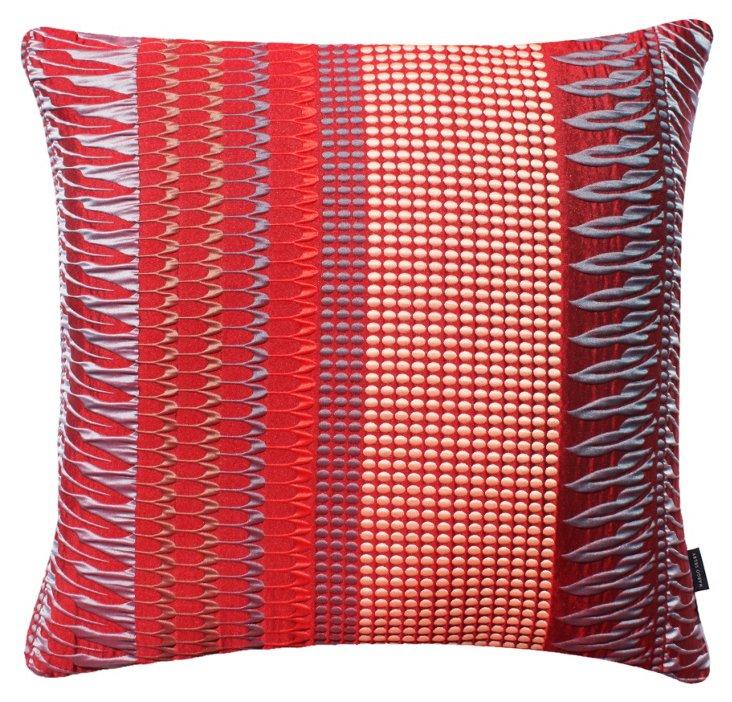 Fitz 22x22 Silk-Blended Pillow, Red