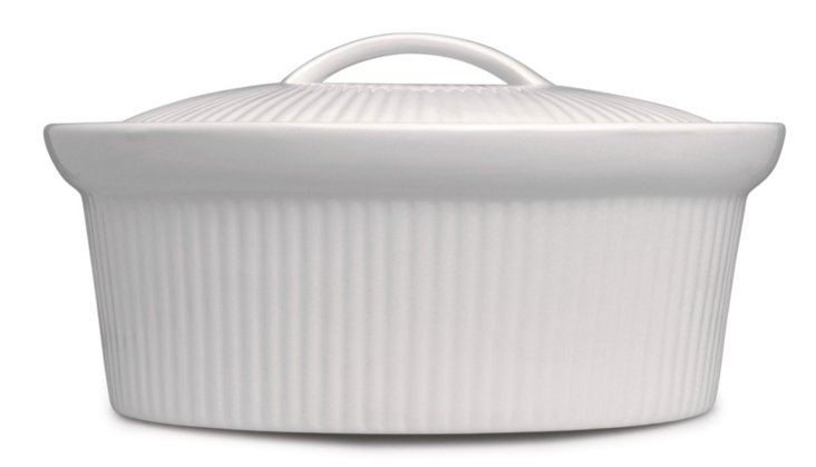 Oval Covered Casserole, White