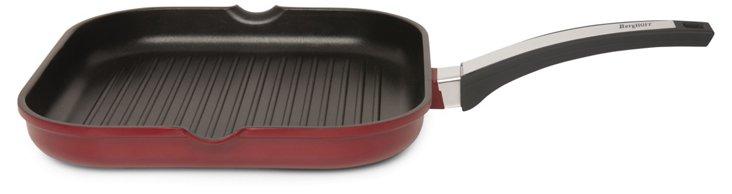 "11"" Cast Aluminum Grill Pan, Red"