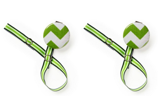 S/2 Pacifier Clips, Green Chevron